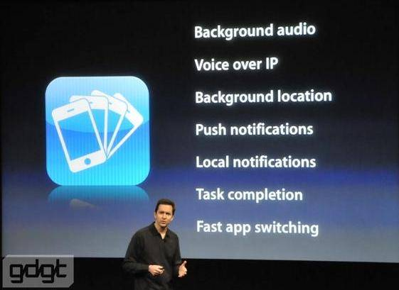 iphones OS 4.0, Multitasking, Features, Apple