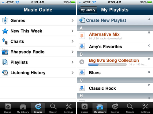 iPhone,     Apple iPod,     iPhone apps,     Rhapsody,     offline playback