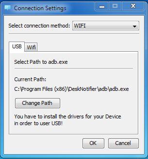 DeskNotifier Connection Settings
