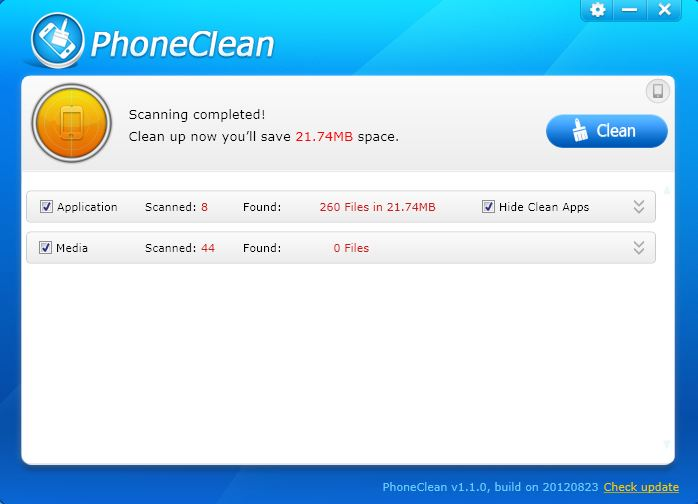 Phoneclean Clean Option