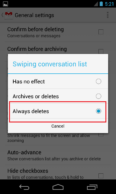 Swipe to Delete Settings