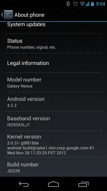 Galaxy Nexus I9250  Android 4.2.2 JDQ39