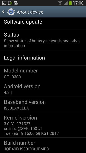 Galaxy S3 I9300XXUFMB3 Android 4.2.1 Jelly Bean