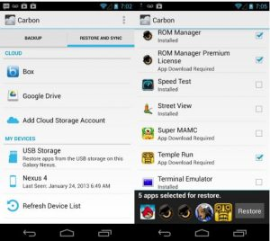 Backup Android Apps, Apps Data Without Root -Carbon Backup