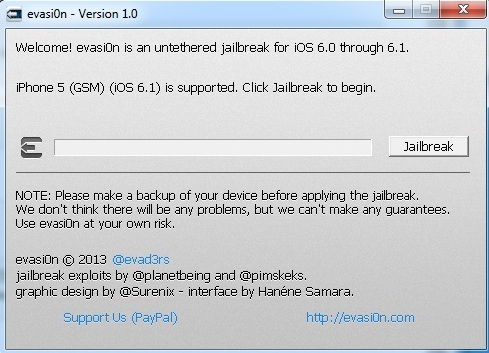 evasi0n Jailbreak Button