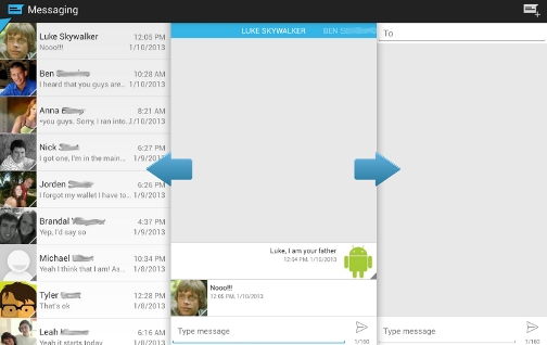 Manage Android Messages with Sliding Messaging
