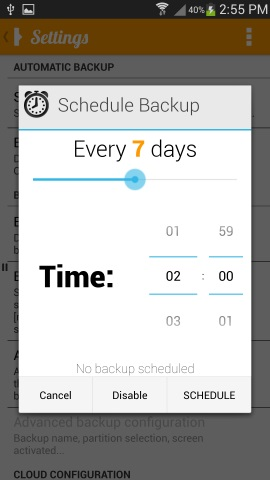 Schedule Backup
