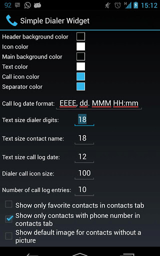 Simple Dialer Widget Settings