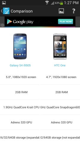 Android Devices Specs