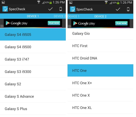 Compare Android Mobile specs
