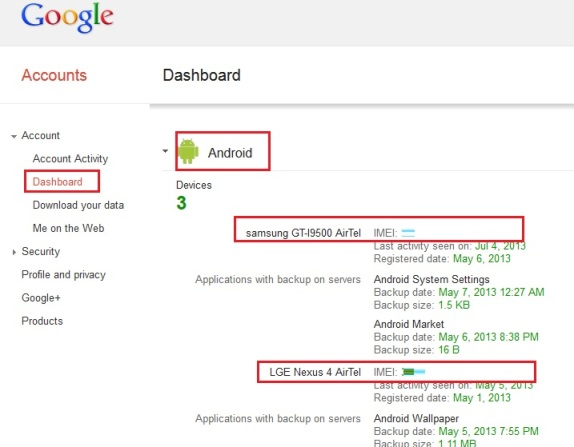 Find IMEI Number of Your Lost Android From Google Account
