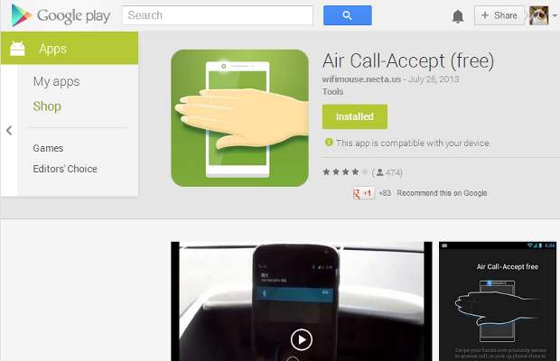 Air Call-Accept Android app