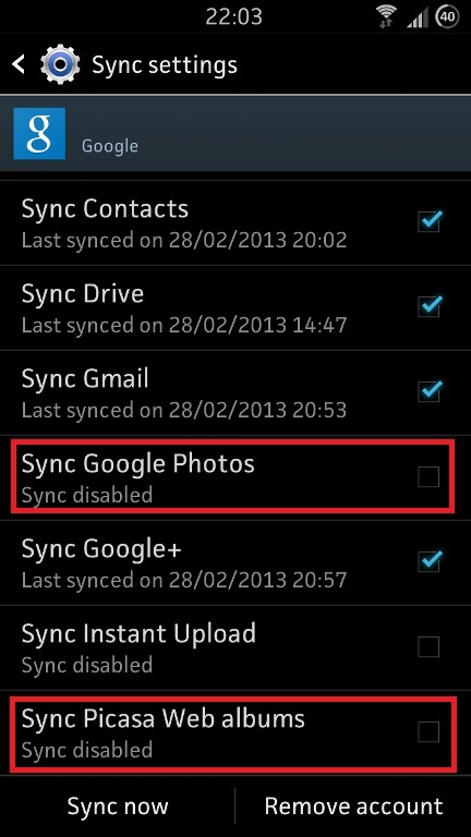 Disable Sync Google Photos