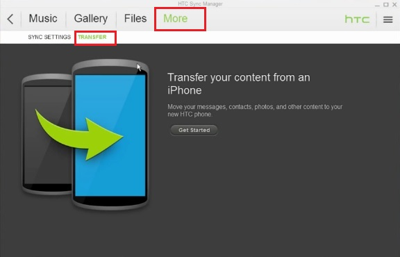 HTC Sync Manager Transfer Content
