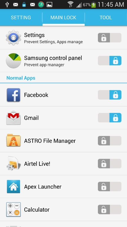 Lock Android Apps
