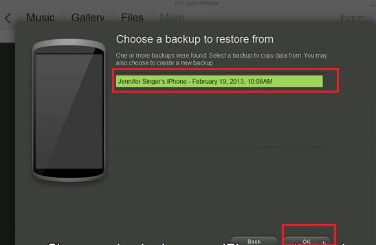 Select iPhone Backup File