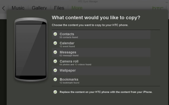 Select the iPhone Contents