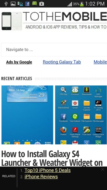Tothemobile Web page on Android