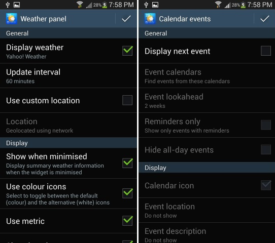 Weather and Calendar Settings