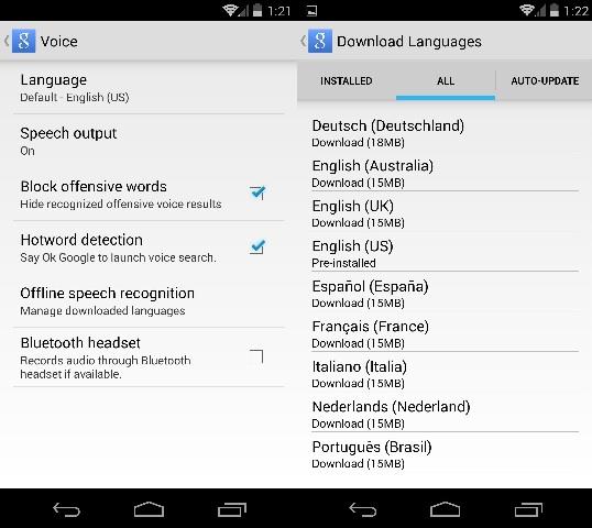 Add Google Now Language Packs