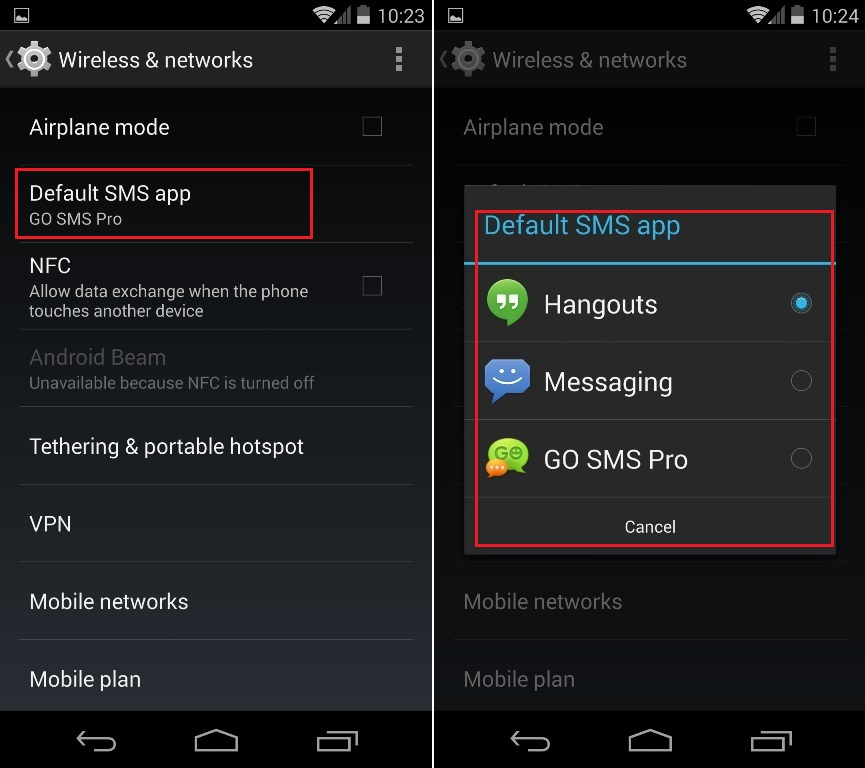 Change Default SMS in Android Kitkat Nexus 5