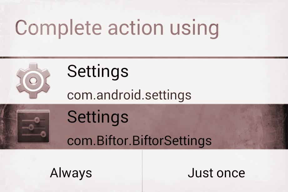 Biftor Settings App
