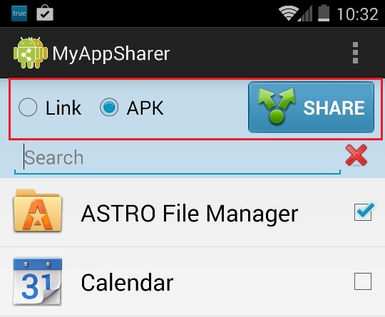 Select App to Share